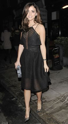 Lucy Mecklenburgh.. Self Portrait cropped overlay mesh dress, and Gianvito Rossi Mesh Insert Pointed Courts..