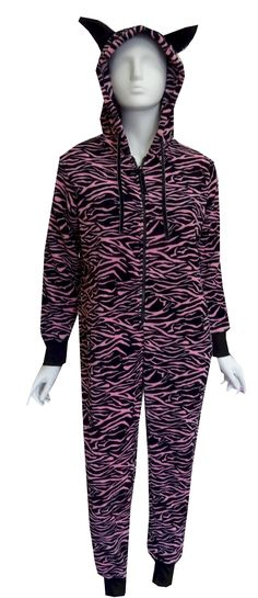 Pink and Black Zebra Plush Onesie Hooded Pajama So cozy! These plush pajama  sets for 752f6d9facc