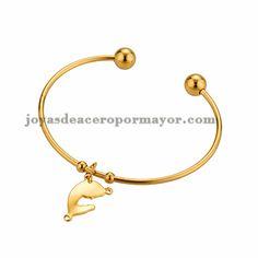 pulsera de santa maria especial en acero dorado inoxidable -SSBTG254096