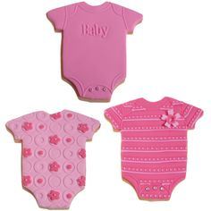 Pink and Fuchsia Baby Bodysuit Cookies. Lots of cookie decorating tutorials.
