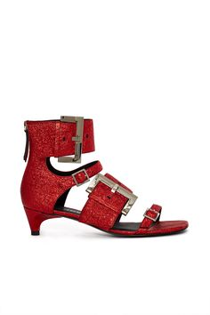 Dorothy called // Opening Ceremony, Ozzy Metallic Buckle Short Sandal The Ozzy are gladiator style sandals made from crinkled red leather with a metallic finish. Interchanging thin and thick buckle straps embellish the front for a stand-out finish., Square peep toe, Kitten heel, Back zipper closure, Leather lining and soles, Imported
