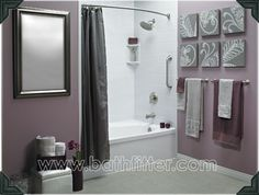 Love the grey and purple together!! Could DIY some artwork similar to this for the powder room.