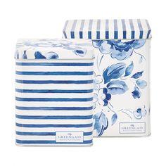 Greengate set scatole in latta Amanda Amanda, Indigo, Dose, Blue Design, Tableware, Home Decor, Cottage, Tin Cans, Drum