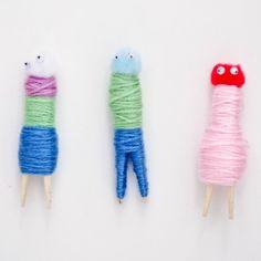 DIY Yarn Clothespin People