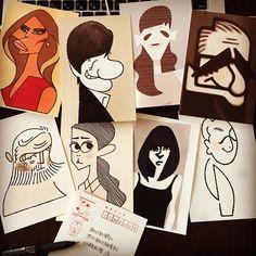 まとめて投稿!  さて、日の目は見られるでしょうか⁈  #似顔絵 #山藤章二の似顔絵塾 #イラストレーション #ポートレート #illustration #caricature #doodle #design #portrait