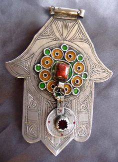 Old Silver Hand of Fatima - Khamsa - Tiznit