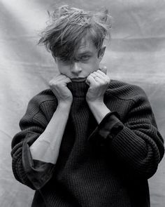 Dane DeHaan in Maison Martin Margiela sweater, $795; Saint Laurent by Hedi Slimane shirt, $750