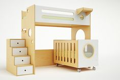 Bunk Bed over crib.  Love the modern beds on this website.