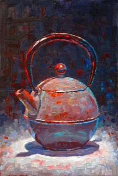 "Daily Paintworks - ""Round Teapot"" - Original Fine Art for Sale - © Raymond Logan"