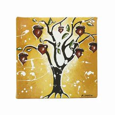 Oak Tree Art Original Acrylic Painting Acorn Art by hjmArtGallery, $49.00