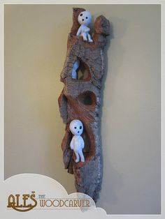 Kodama Tree Spirits wood carving from the anime movie Princess Mononoke, a unique gift for a fan of this great movie or Studio Ghibli fan in