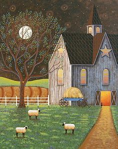 """Evening Glow"" Folk Art Painting by Mary Charles Prints at Fine Art America"