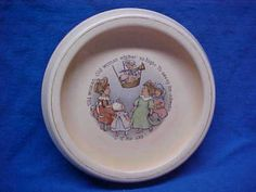 Roseville-Nursery-Rhyme-Babys-Plate-Old-Woman-Whither-So-High-1912-Creamware