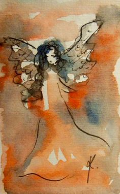 Angel Painting Original Watercolor Painting by KristinaValicArt, $20.00