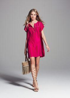 Tonsiya Embroidered Silk Dress in Magenta