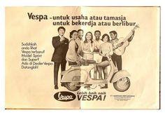 Vintage Vespa Adv from Indonesia Vintage Vespa, Vintage Ads, Vintage Posters, Piaggio Vespa, Vespa Scooters, Vespa Super, Old Commercials, Print Ads, Vintage Advertisements