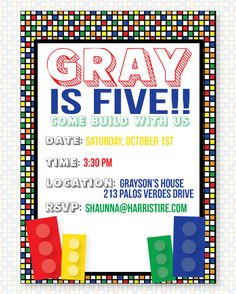 Lego PRINTABLE Party Invitation by Love The Day. $18.00, via Etsy.