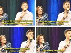 [SET OF GIFS] Jared & Jensen convention panel talking about the Eye of the Tiger outtake #VanCon2012