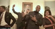 James and The First Lady strike a pose during the Mannequin Challenge video Read more: http://www.dailymail.co.uk/sport/othersports/article-3926678/LeBron-James-Cleveland-Cavaliers-Mannequin-Challenge-Michelle-Obama.html#ixzz4PokHA4FZ Follow us: @MailOnline on Twitter   DailyMail on Facebook
