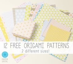 12 Free Printable Origami Papers!, Here are 12 free printable origami papers to download from Paper Crystal, available in 2 different sizes in high quality scalable PDF format :)