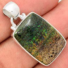 Honduran Black Matrix Opal 925 Sterling Silver Pendant Jewelry BMOP173