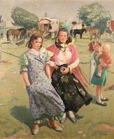 Gypsies on Epsom Downs by Dame Laura Knight, (English 1877-1970)