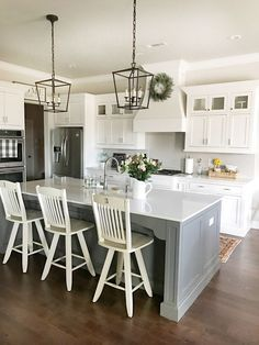 Kitchen accessories and decor ideas kitchen remodel ideas images,new kitchen photos best small kitchen layout plans,planning a new kitchen layout rustic kitchen ideas on a budget. Farmhouse Kitchen Lighting, Farmhouse Style Kitchen, Modern Farmhouse Kitchens, Home Decor Kitchen, New Kitchen, Home Kitchens, Kitchen Ideas, Awesome Kitchen, Rustic Farmhouse