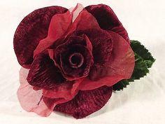 Velvet-Chiffon-Rose-Burgundy-Millinery-Bridal-Corsage-Wedding-Crafts-4-inch