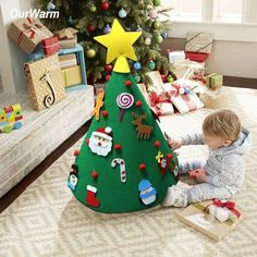 DIY Felt Christmas Tree with Hanging Ornaments, Xmas Gifts for Kids Christmas Decorations 3 Christmas Tree Stand Diy, Baby's First Christmas Gifts, Diy Felt Christmas Tree, Christmas Decorations For Kids, Toddler Christmas, Tree Decorations, Xmas Tree, Merry Christmas, Christmas Hamper