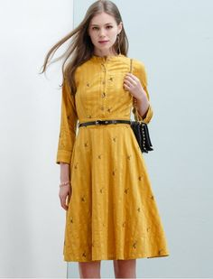 1940s Style You're A Deer Cute Retro Modest Yellow Print Dress