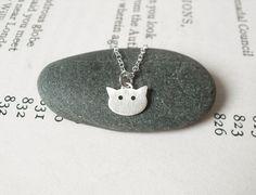 {Sterling Silver Cat Necklace} little kitty head! cute