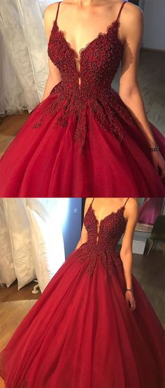 fashion spaghetti straps prom dress with lace appliques, sexy ball gown prom dress with beading, elegant burgundy tulle party dress with lace and beading
