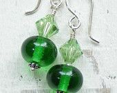 Recycled Perrier water glass lampwork beads combined with sterling silver