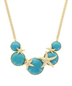Another great find on #zulily! Gold & Turquoise Starfish Statement Necklace #zulilyfinds