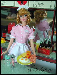The Waitress Silkstone Barbie in my Coca Cola Malt Shop display. Play Barbie, Barbie Life, Barbie World, Barbie And Ken, Barbie Dream, Coca Cola, Barbie Diorama, Vintage Barbie Dolls, Vintage Toys