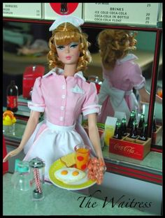 """Barbie's new career.  """"When Ken left me for Joe, the Pig and Whistle saved my life."""""""