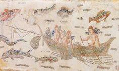 Scena con amorini pescatori in un mosaico di Oudna, l'antica Utica Fish Monger, Roman Food, Ancient Rome, Romans, Roman Mosaics, Vintage World Maps, Nautilus, Antiques, Museums