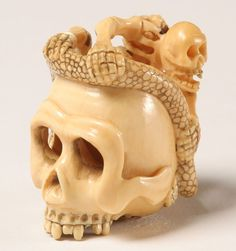 Japanese Carved Ivory Netsuke Skull w/Skeleton