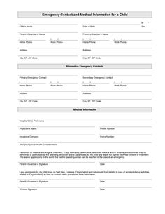4 Best Images Of Printable Babysitter Medical Release Form   Printable  Emergency Contact Form Template, Babysitter Medical Release Form And  Babysitter ...  Free Medical Form Templates