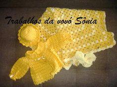 Trabalhos da vovó Sônia: Conjunto para bebê 2 tons de amarelo - crochê