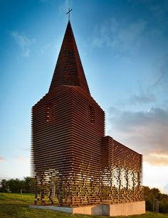Imagine approaching a building that seams solid, only to find out it is composed of layers of steel?  Pieterjan Gijs and Arnout Van Vaerenbergh's Church-Inspired Folly in Belgium : Architectural Digest