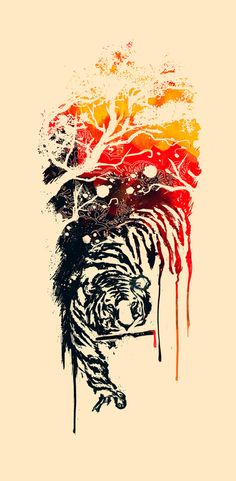 Painted Tiger by Budi Satria Kwan. I like the idea of having the paper be the image. and just coloring in the blanks. would be good to do for a print