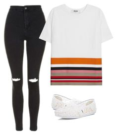 """""""My professional look"""" by melw44 ❤ liked on Polyvore featuring Topshop, MSGM and TOMS"""