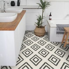 Quadrostyle is the leader in vinyl tile stickers for your floors, walls, backspl… - Home Decor Flooring Bathroom Renos, Bathroom Flooring, Kitchen Flooring, Bathroom Gray, Bathroom Bath, Basement Bathroom, Painting Tile Floors, Painted Floors, Painted Floor Tiles