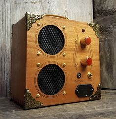"""The """"Delta Driver"""" Dual-Speaker, Dual-Input Cigar Box Amplifier - for and/or Guitar Wooden Cigar Boxes, Good Cigars, Cigar Box Guitar, Red Agate, Red Led, Playing Guitar, That Way, Solid Wood, Miniatures"""