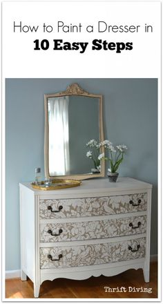 Painting a pretty thrifted dresser for your bedroom is a LOT easier than you think! These 10 steps on how to paint a dresser will get you started right away! **INCLUDES VIDEO TUTORIAL** - Serena @ Thrift Diving