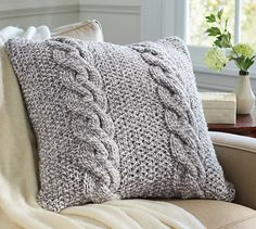 Bicolor Chunky Cable Handknit Pillow Cover | Pottery Barn