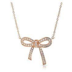 Bling Jewelry Rose Gold Plated Ribbon Cubic Zirconia Bow Pendant... ($27) ❤ liked on Polyvore featuring jewelry, necklaces, clear, cz necklace, clear glass pendant, drusy pendant, bow necklace and cross necklace