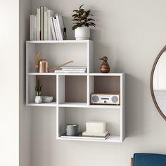 Bookshelves In Bedroom, Floating Shelves Bedroom, White Bookshelves, White Shelves, Ideas For Bookshelves, Bedroom Wall Shelves, Floating Cube Shelves, Bookcase, Book Shelves