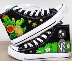 Plants vs Zombies Hand-painted shoes canvas Shoes via Etsy